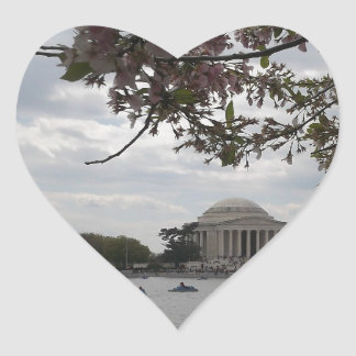 Jefferson Memorial During Cherry Blossom Festival Heart Stickers