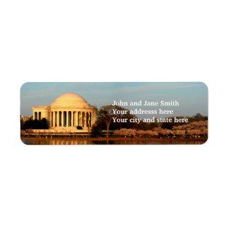 Jefferson  memorial custom return address labels