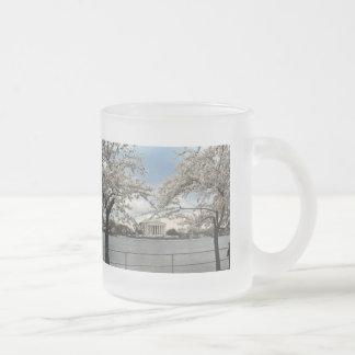 Jefferson Memorial Washington DC Cherry Blossoms Frosted Glass Coffee Mug