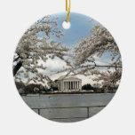 Jefferson Memorial Washington DC Cherry Blossoms Double-Sided Ceramic Round Christmas Ornament