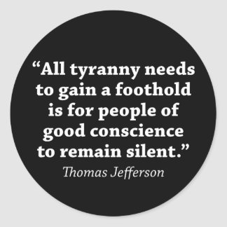 Jefferson: No siga siendo silencioso Pegatina Redonda