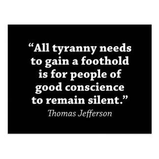 Jefferson: No siga siendo silencioso Tarjeta Postal