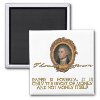 Jefferson on Paper Money 2 Inch Square Magnet