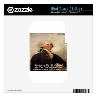 """Jefferson """"Peace/Friendship"""" Quote iPod Touch 4G Decals"""