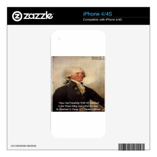 """Jefferson """"Peace/Friendship"""" Quote Skin For The iPhone 4"""