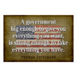 Jefferson Poster: Big Government Quote