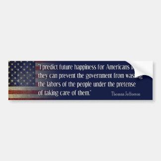 Jefferson: Predigo la felicidad para América Pegatina Para Auto