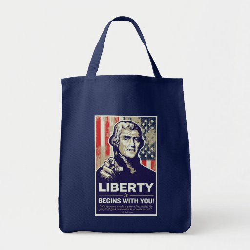 Jefferson que la libertad comienza con usted empaq bolsa tela para la compra