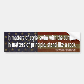 Jefferson Quote: In matters of style, swim with... Car Bumper Sticker