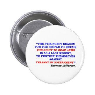 jefferson quote pinback button