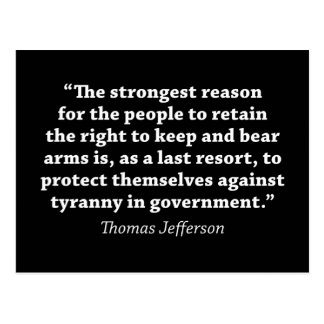 Jefferson: RIGHT TO BEAR ARMS Postcard