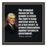 Jefferson: Right to bear arms Poster