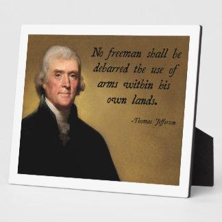 Jefferson Second Amendment Display Plaques
