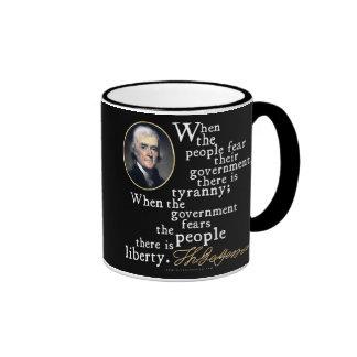 Jefferson Tyranny-Liberty Quote Ringer Coffee Mug