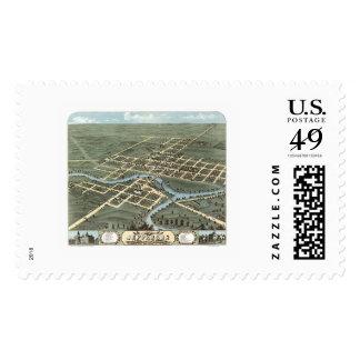 Jefferson, WI Panoramic Map - 1870 Postage