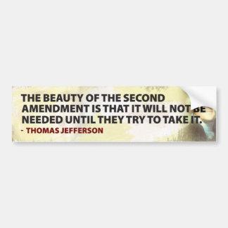Jefferson y la 2da enmienda pegatina para auto