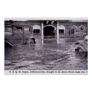 Jeffersonville, Indiana 1937 Flooded Streets Poster