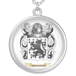 Jefferys Coat of Arms (Family Crest) Round Pendant Necklace
