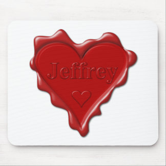 Jeffrey. Red heart wax seal with name Jeffrey Mouse Pad