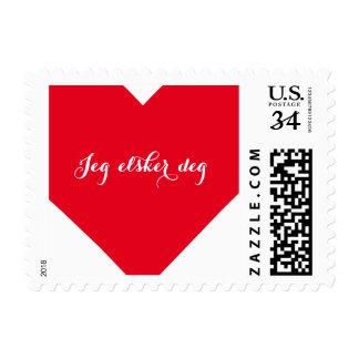 Jeg Elsker Deg I Love You Norweigan Heart Postage