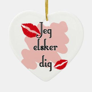 Jeg elsker dig - Danish - I Love You Christmas Ornament