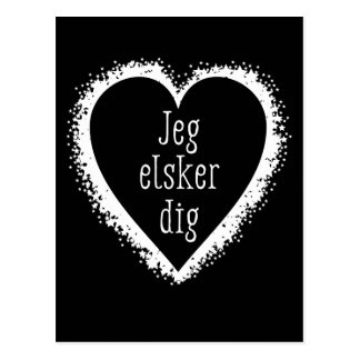 Jeg elsker dig , I love you in Danish black&white Postcard