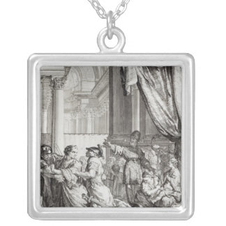 Jehoiada, High Priest of Jerusalem Proclaiming Square Pendant Necklace