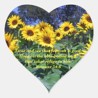 Jehovah, God, is Good Romans 34:8 Heart Sticker