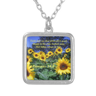 Jehovah, God, is Good Romans 34:8 Silver Plated Necklace
