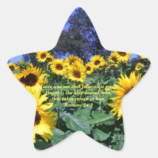 Jehovah, God, is Good Romans 34:8 Star Sticker