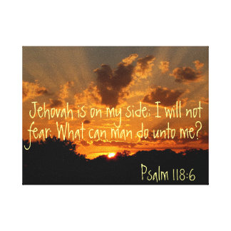 Jehovah is on my side sunset Psalm bible verse Canvas Print