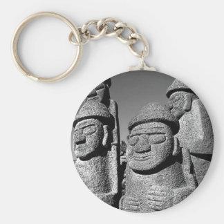 Jeju Stone Grandfather Statues Harubang BW Basic Round Button Keychain