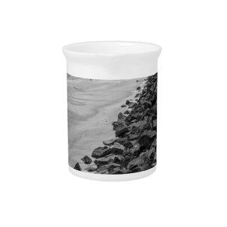 Jekyl Island Georgia Sea Barrier Black and White Drink Pitcher