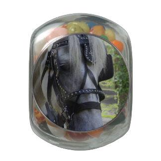 Jekyll horse glass candy jar