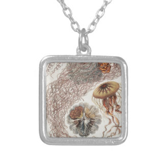 Jellies (jellyfish) in pastel colors silver plated necklace