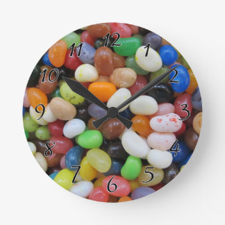 Jelly Bean black blue green Candy Texture Template Round Clock