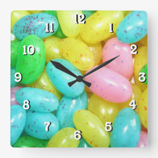 Jelly bean candies square wall clock