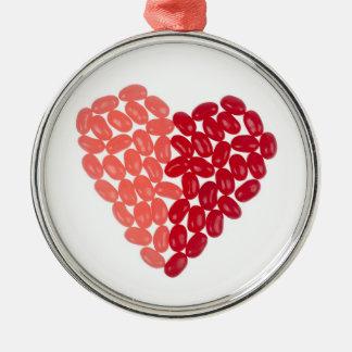 Jelly bean heart metal ornament