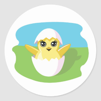 Jelly Bean the Chick Classic Round Sticker
