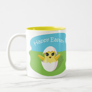 Jelly Bean the Chick - Happy Easter! Two-Tone Coffee Mug