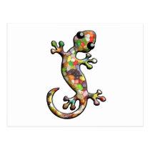 Jelly Bean Theme Gecko Postcard