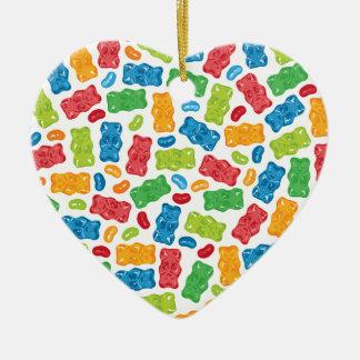Jelly Beans & Gummy Bears Pattern Ceramic Ornament