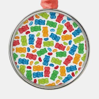 Jelly Beans & Gummy Bears Pattern Metal Ornament