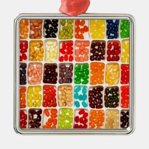 Jelly Beans Square Metal Christmas Ornament