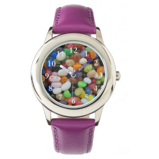 Jelly Beans Stainless Steel Leather Strap Watch