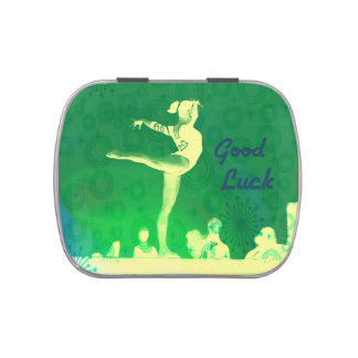 """Jelly Belly candy tin. """"Good Luck Gymnast"""" theme"""
