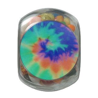 Jelly Belly Glass Jar Tie Dye Look Lid