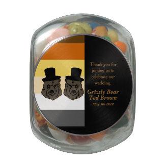 Jelly Belly Jar Black Bear Grooms Gay Wedding Glass Jar