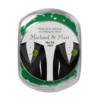 Jelly Belly Jar Favors Green Carnation Gay Wedding Glass Jars