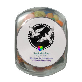 Jelly Belly Jar Lesbian Love Doves Wedding Favor Jelly Belly Candy Jar